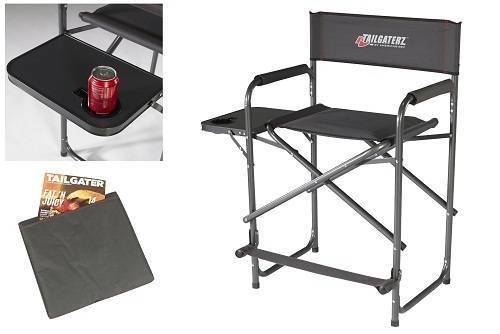 Tailgaterz Take-Out Seat Steel Best Outdoor Folding Chairs with Side Table