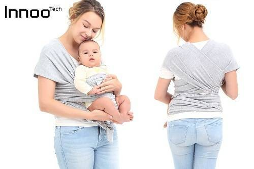 Innoo Tech Baby Sling Carrier Natural Cotton Original Baby Wrap