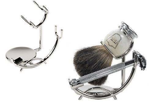 Chrome razor and shaving brush stand from super safety razors