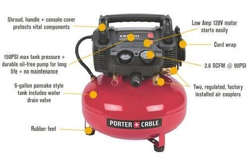 PORTER-CABLE PCFP-02003 3.5Gallon 135-PSI Pancake Compressor