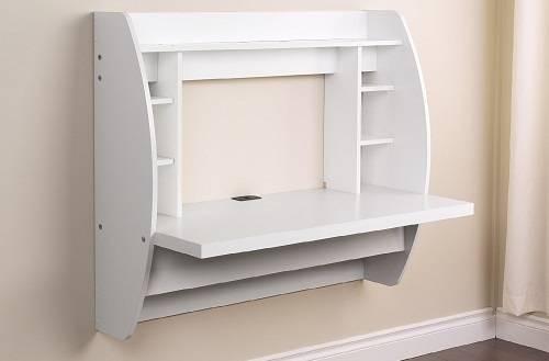 White Floating Desk with Storage - Best Computer Desks
